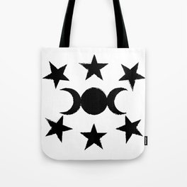 Triple Moon and Stars Tote Bag