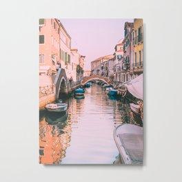 Pink Canal in Venice Fine Art Print Metal Print