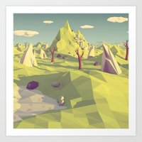 polygon Art Prints featuring Polygon Landscape by Tom Lee