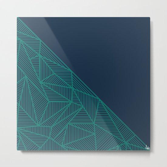 B Rays Geo Pine Blue Metal Print
