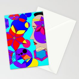 Pinwheels and Shapes Abstract Lady Stationery Cards