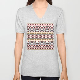 Aztec Essence Ptn III Red Blue Gold Cream Unisex V-Neck