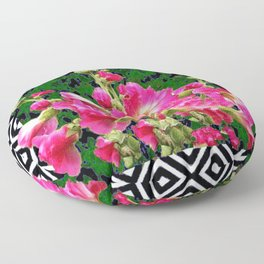 Fuchsia Pink Rose Color Holly Hocks Pattern Floral Art Floor Pillow
