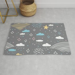 Nature doodle lines scandinavian style. Nursery decor trend of the season Rug