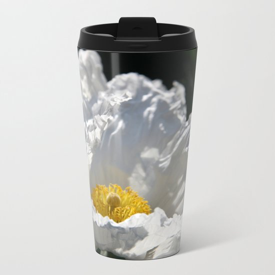 Poppy - White Metal Travel Mug