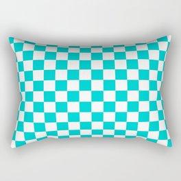White and Cyan Checkerboard Rectangular Pillow