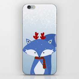 Cute Fox Wintery Holiday Design iPhone Skin