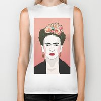 frida Biker Tanks featuring Frida by Amanda Corbett