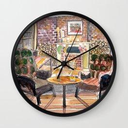 English Countryside Pub Fireside and Streetscene Wall Clock