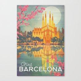 Barcelona Spain Vintage Travel Poster Canvas Print