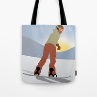 snowboard Tote Bags featuring Snowboard Illustration by Nikki Gagliardo