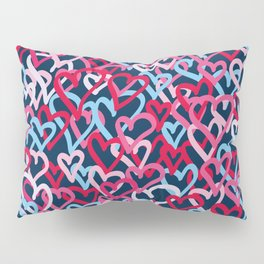 Colorful  Hearts - Graffiti Style Pillow Sham