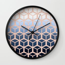 blue ombre with rose gold cube pattern Wall Clock