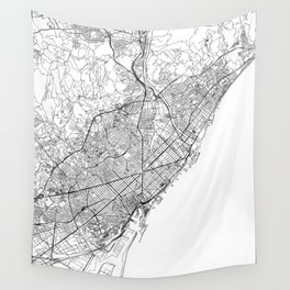 Barcelona White Map Wall Tapestry