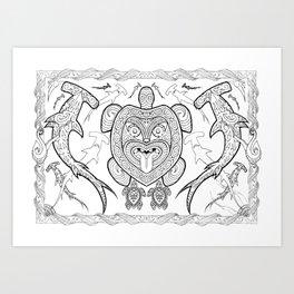 Nga mea o te moana (Creatures of the sea) Art Print
