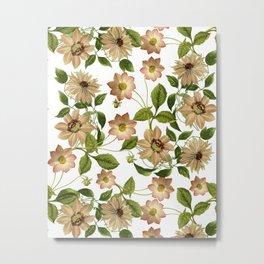 Floral retro vintage pattern pastel colored Metal Print