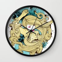 geisha Wall Clocks featuring Geisha by Geo Law
