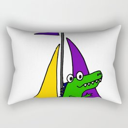 Cool Funny Alligator on Colorful Sailboat copy Rectangular Pillow
