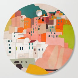 italy coast houses minimal abstract painting Cutting Board