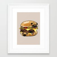 pugs Framed Art Prints featuring Pugs Burger by Huebucket
