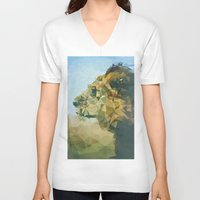 lion V-neck T-shirts featuring Lion by Esco