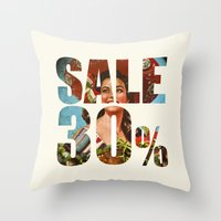 sale Throw Pillows featuring Sale by Gerko