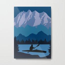 Vintage Retro Kayak Canoe River Kayaking Canoeing Mountain Metal Print