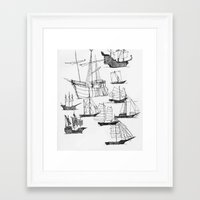 ships Framed Art Prints featuring Ships by Rachel Wann