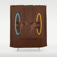 aperture Shower Curtains featuring Aperture Science - Canine Aptitude Testing by Visual World