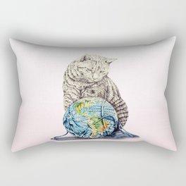 In which our feline deity shows restraint  Rectangular Pillow