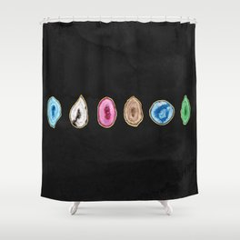 Gold Leaf Agate Shower Curtain