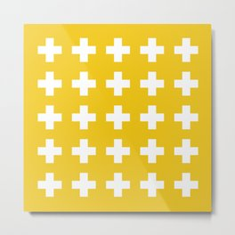 Gold Swiss Cross Metal Print