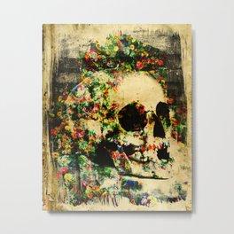 floral skully 2 Metal Print