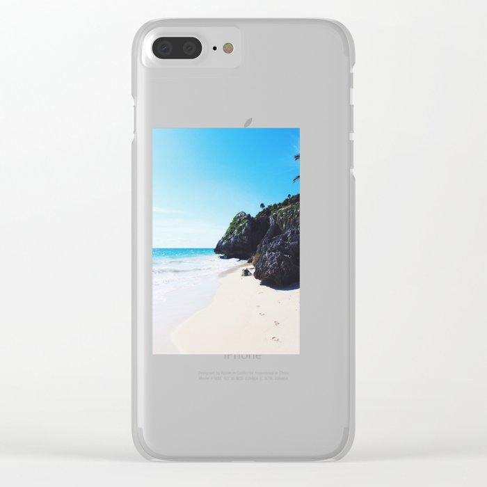 Footprints in Tulum Clear iPhone Case