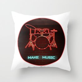 Red Neon Drum Set TEXT: Make Music in Aqua Throw Pillow