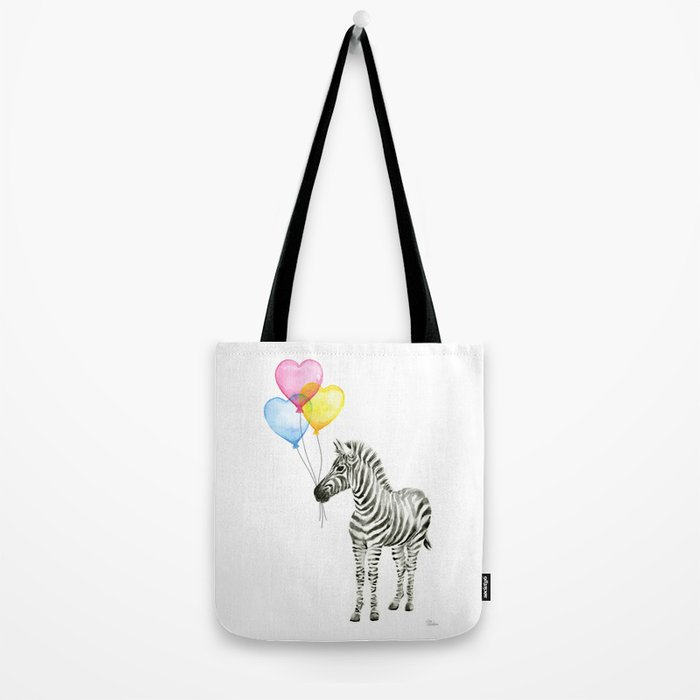 Zebra Watercolor With Heart Shaped Balloons Whimsical Baby Animals Tote Bag