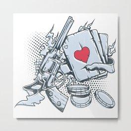Guns and hearts Metal Print