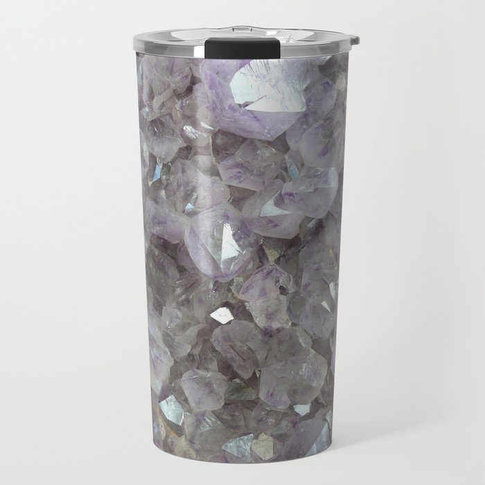 Sparkling Clear Light Purple Amethyst Crystal Stone Travel Mug