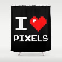 I Love Pixels, pixel heart, nerd, geek t shirt, black bg Shower Curtain