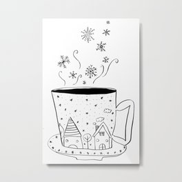 A cup of snow flakes Metal Print