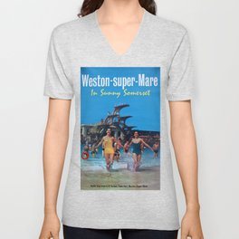 Weston-Super-Mare Vintage Travel Poster Unisex V-Neck