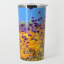 Orange Poppies and Purple Wildflowers with Butterfly (2) by Reay of Light Travel Mug