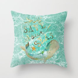 Save our Seas Throw Pillow