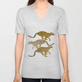 Go Cheetahs Go Pen and Ink by Lorloves Design Unisex V-Neck