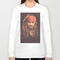 jack sparrow Long Sleeve T-shirts featuring Jack Sparrow Digital Painting by Visionary Creations