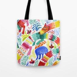 Floral Dragon Tote Bag