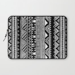 Black White Cute Girly Urban Tribal Aztec Andes Abstract Geometric Hand-drawn Pattern Laptop Sleeve
