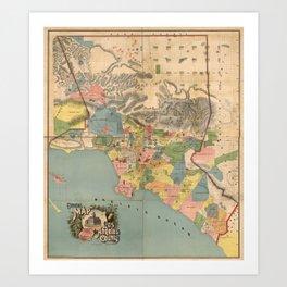 Vintage Map of Los Angeles County CA (1888) Art Print