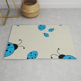 Ladybugs-Beige+Blue Rug