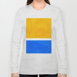 Primary Yellow Cerulean Blue Mid Century Modern Abstract Minimalist Rothko Color Field Squares Long Sleeve T-shirt